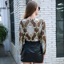 Missord 2018 Sexy Long Sleeve Gold Beads See Through  Black Color Top FT8658