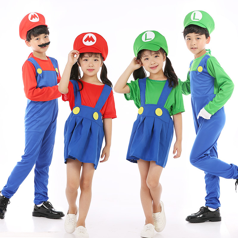 hot Halloween Costumes Funny Super Mario Luigi Brother Costume Kids Children Boys Girls Fantasia Cosplay Jumpsuit