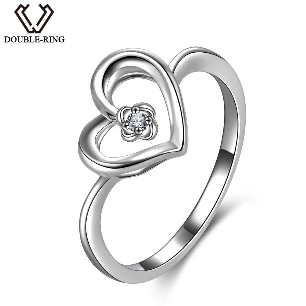 DOUBLE-R 100% Véritable Diamant 925 Bague En Argent Sterling