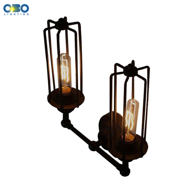 Double Head Vintage Iron Painted Black Tube Wall Lamp Warehouse Indoor Light E27 Holder 110-240V Free Shipping
