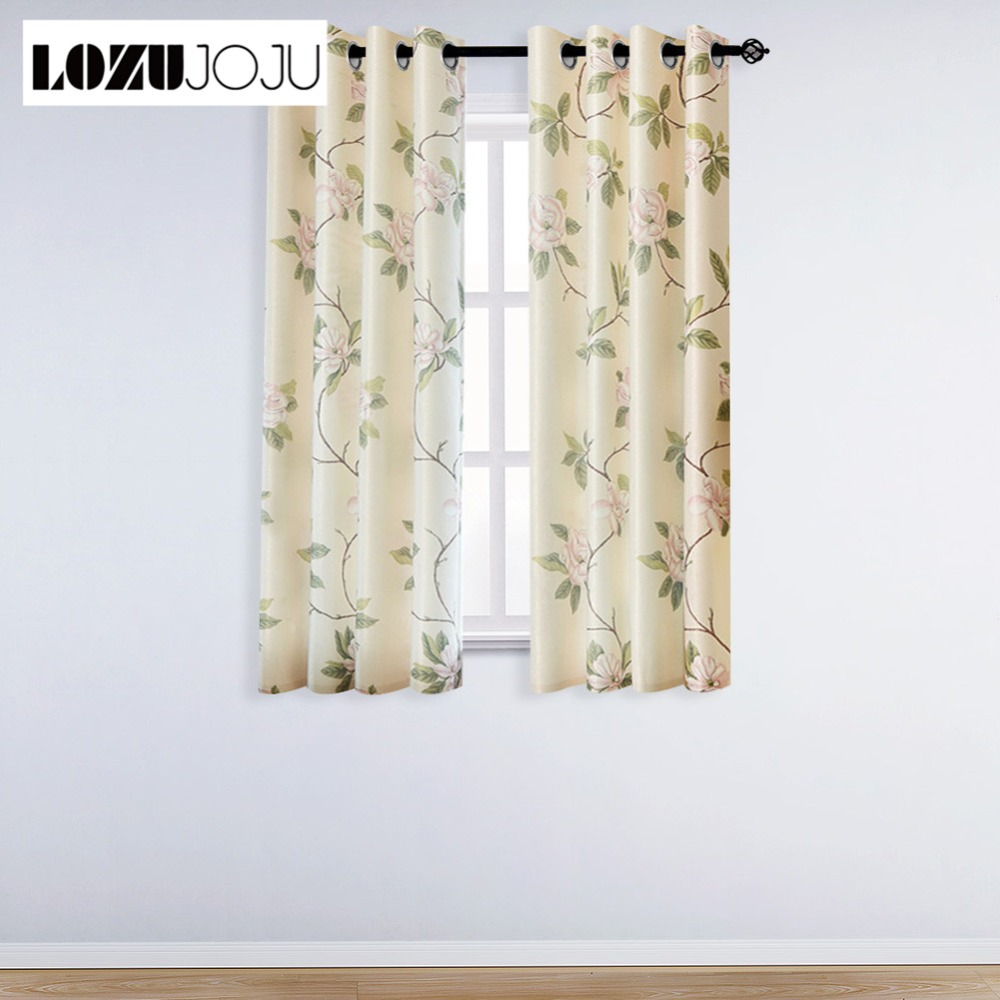 LOZUJOJU Rose Pattern Short Curtains For Living Room Windows Elegant Panel Bedroom High Shading Curtains Thick Fabric Floral
