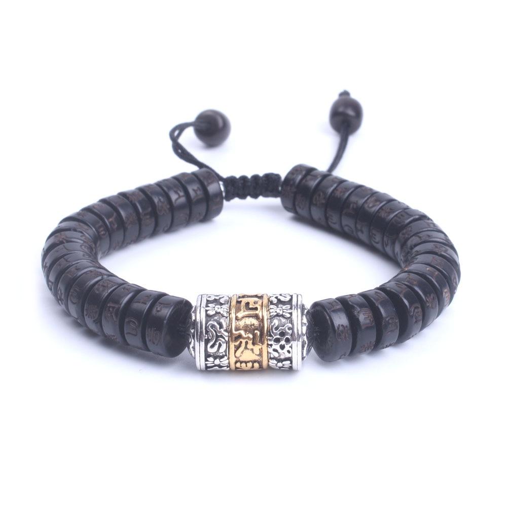 Guscio di noce di Cocco naturale perline Mantra OM Mani Padme Hum con metallo Segno borda il Braccialetto Handmade Tibetano Buddista gioielli dropship