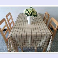Hot Sale Simple Plaid Style Creative Handmade Tassels Tablecloths Hotel Tablecloth Coffee Table Cloth Restaurant Table