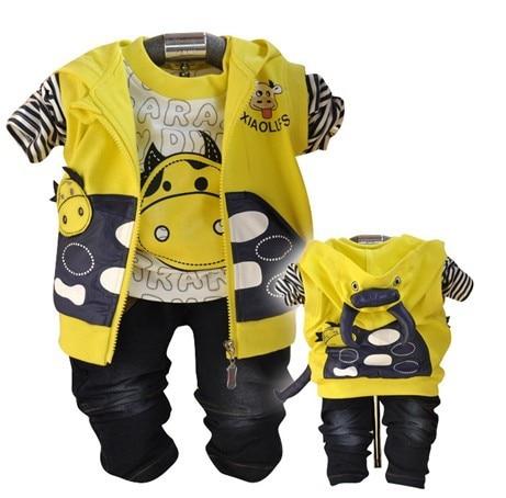 clearance boys cow design kids clothes sets vest +shirt+pant 3pcs baby boy clothing set for spring-autumn kids apparel set boy