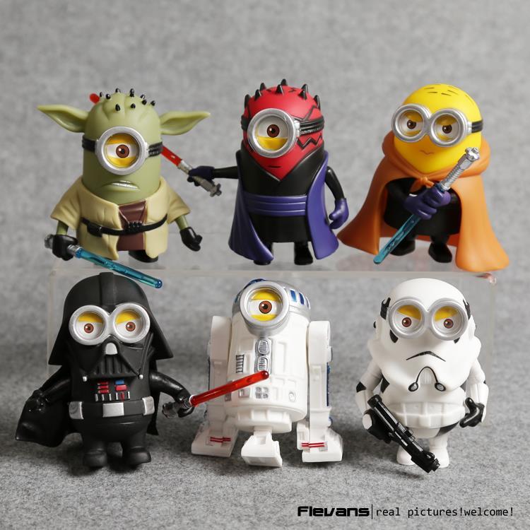Minion Cos Star Wars Yoda Darth Maul Darth Vader R2-D2 Stormtrooper Obi-Wan <font><b>PVC</b></font> <font><b>Action</b></font> <font><b>Figures</b></font> <font><b>Toys</b></font> 6pcs/<font><b>set</b></font> DSFG330