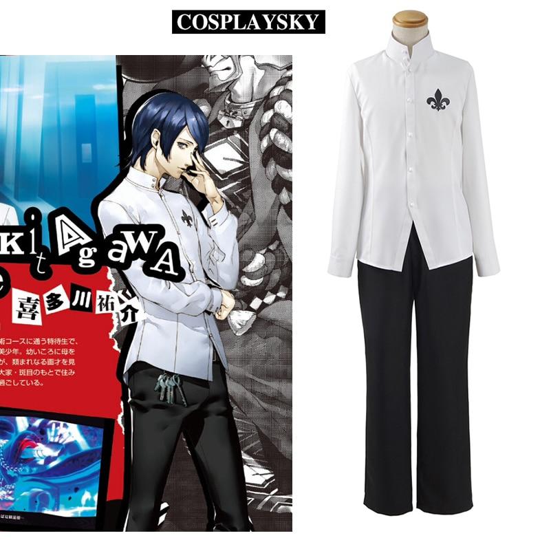 ペルソナ5祐介kitagawaコスプレ衣装新しいp5学校制服白シャツ黒パンツ男性の