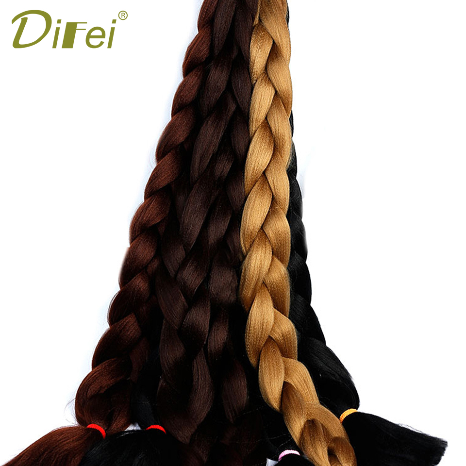 DIFEI 82 165g/piece Long Jumbo Braiding Hair Crochet Braids Hair Pink Blue Yellow Braids Hair Extensions