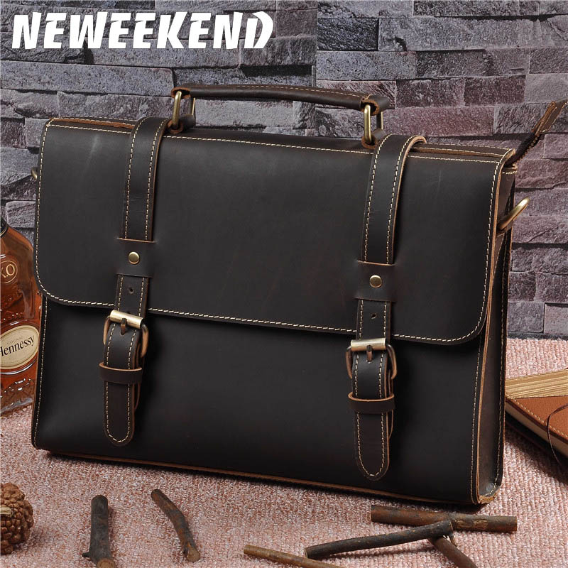 Top Grade Male Men's Vintage Real Crazy Horse Leather Briefcase Messenger Shoulder Portfolio Laptop Bag Case Office Handbag 1095