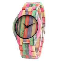 Mixed Colorful Stripe Full Wooden Watch Men Casual Bracelet Clasp Quartz Bamboo Creative Watches Unisex Gifts for Men Women
