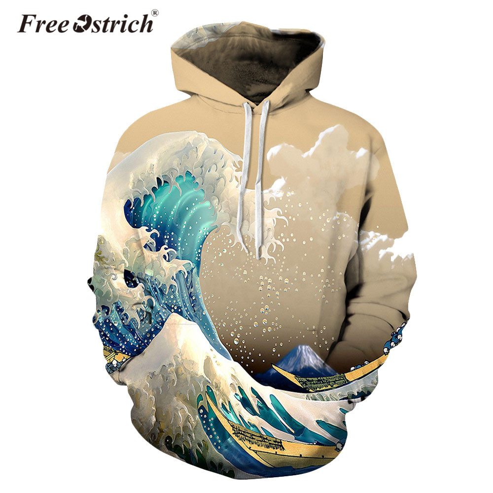Free Ostrich Sweatshirt Fashion Waves Hoodies Men/Women Unisex 3d Sweatshirts Print Colorful Stylish Hooded Hoodies Dropshipping