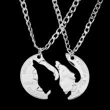 Collier hurlant loup coupé à la main, pendentif, couple, amis, Puzzle, vente en gros, livraison directe