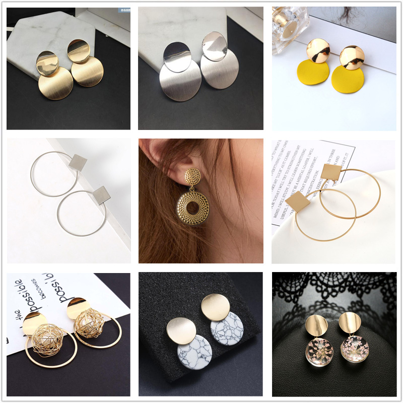 Fashion Women Earrings Mix Style Round Ball Pendientes Gold Color Acrylic Minimalist Drop Earrings Female Wedding Jewelry 2019(China)