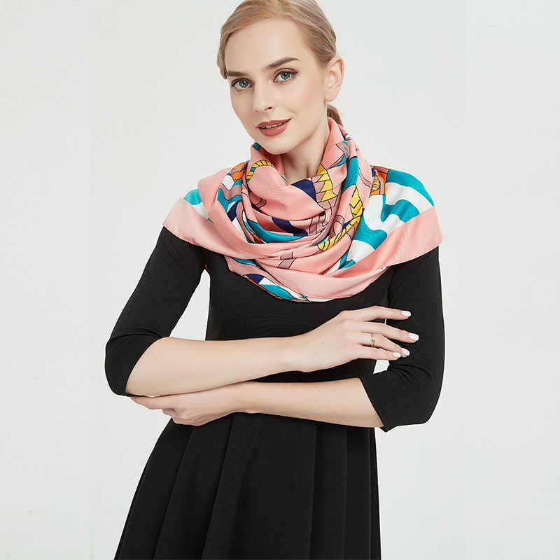 POBING роскошный бренд 100% Шелковый квадратный шарф для женщин большой шейный платок женский испанский платок хиджаб Леди шаль Бандана 130*130 см