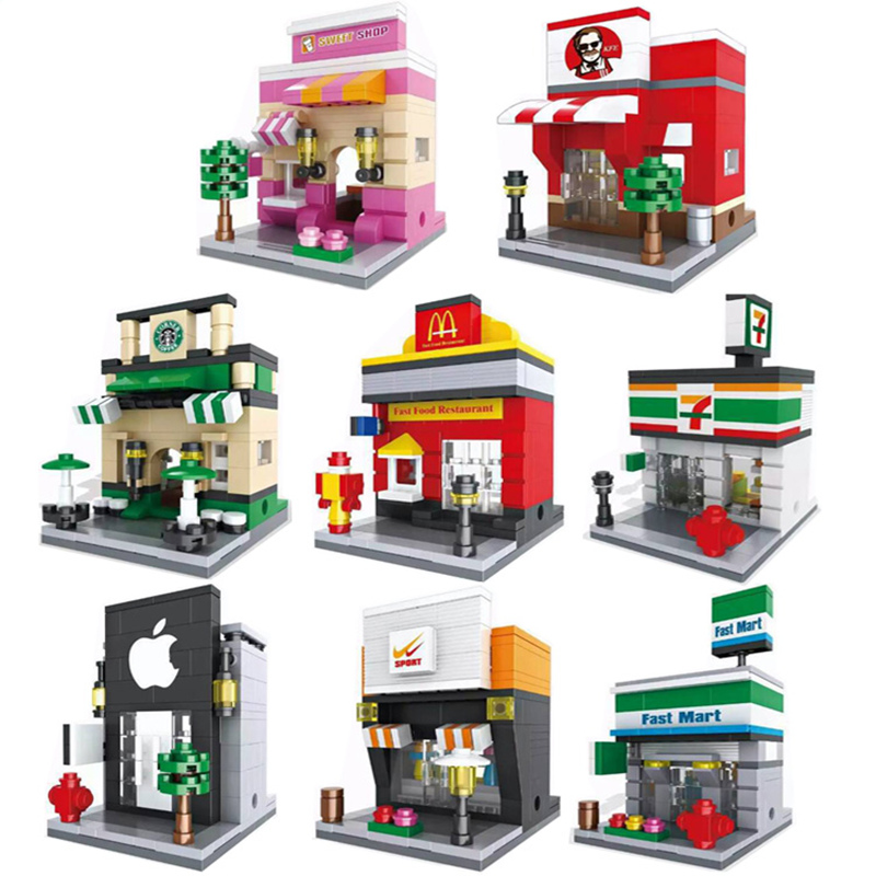 2017 City Mini Street View Building Blocks Scene Coffee Shop Retail Store Architectures Models For Kids Gift