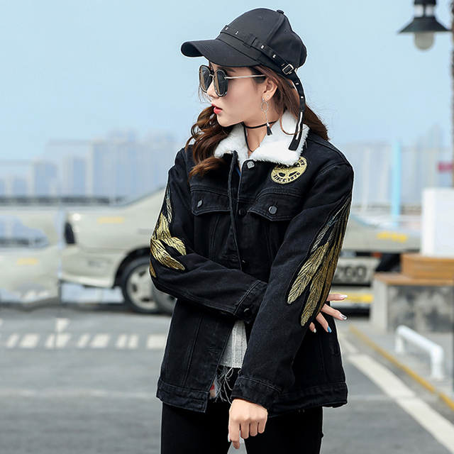 9379ef833 US $124.08 |Women Shiny Embroidered Single Breasted Bomber Jacket Casual  Angel Wings Embroidery Pocket Winter Lambswool Liner Jacket Outwear-in  Basic ...