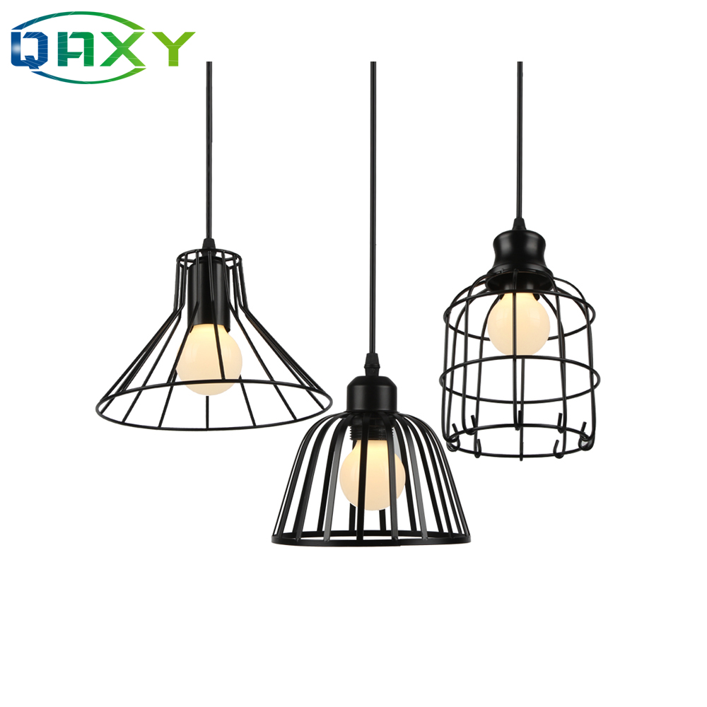 2019 New Arrival Fixture E27 110v-240v Cage Shade Pendant Light Bottle-Shaped  Black Iron Hanging Lamp In Dressing Room[D8305]
