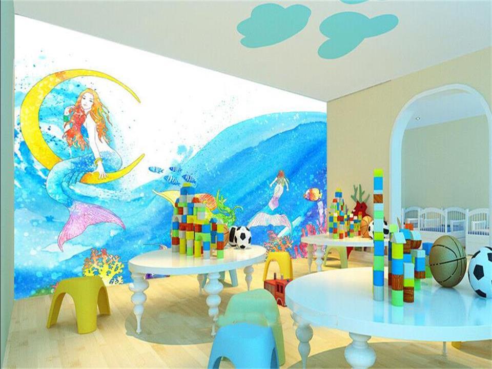 цена на 3d wallpaper custom photo wallpaper kids room mural cartoon Mermaid fairy tale 3d panting TV background wallpaper for wall 3d