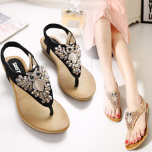 2017 summer new women's fashion sandals slope with casual comfortable diamond beads women sandals large size banquet sandals 40