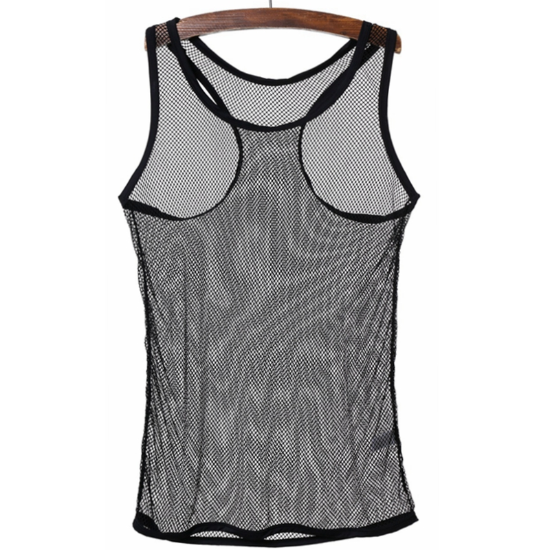 25df2bc9b65 Fashion Breathable Sexy Mens Black White Fishnet Tops Transparent T-shirts  Net Mesh Gay See-Thru Lounge Funny Shirt Undershirt