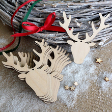 5pcs/lot Delicate Deer Head Design Wooden Laser Hollow Hanging Ornaments For Christmas Tree DIY Outdoor Party Decorative Crafts