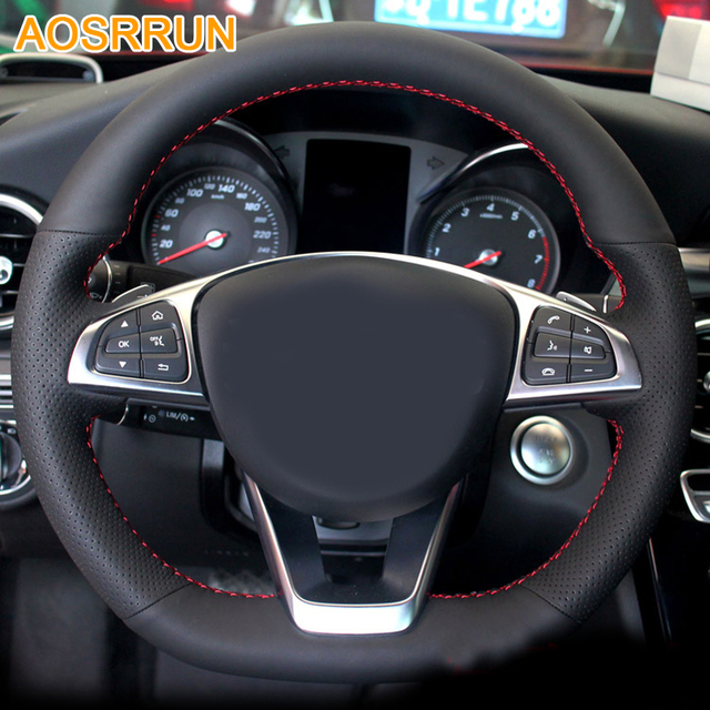 AOSRRUN Car Accessories Leather Hand Stitched Car Steering Wheel Cover For Mercedes  Benz C