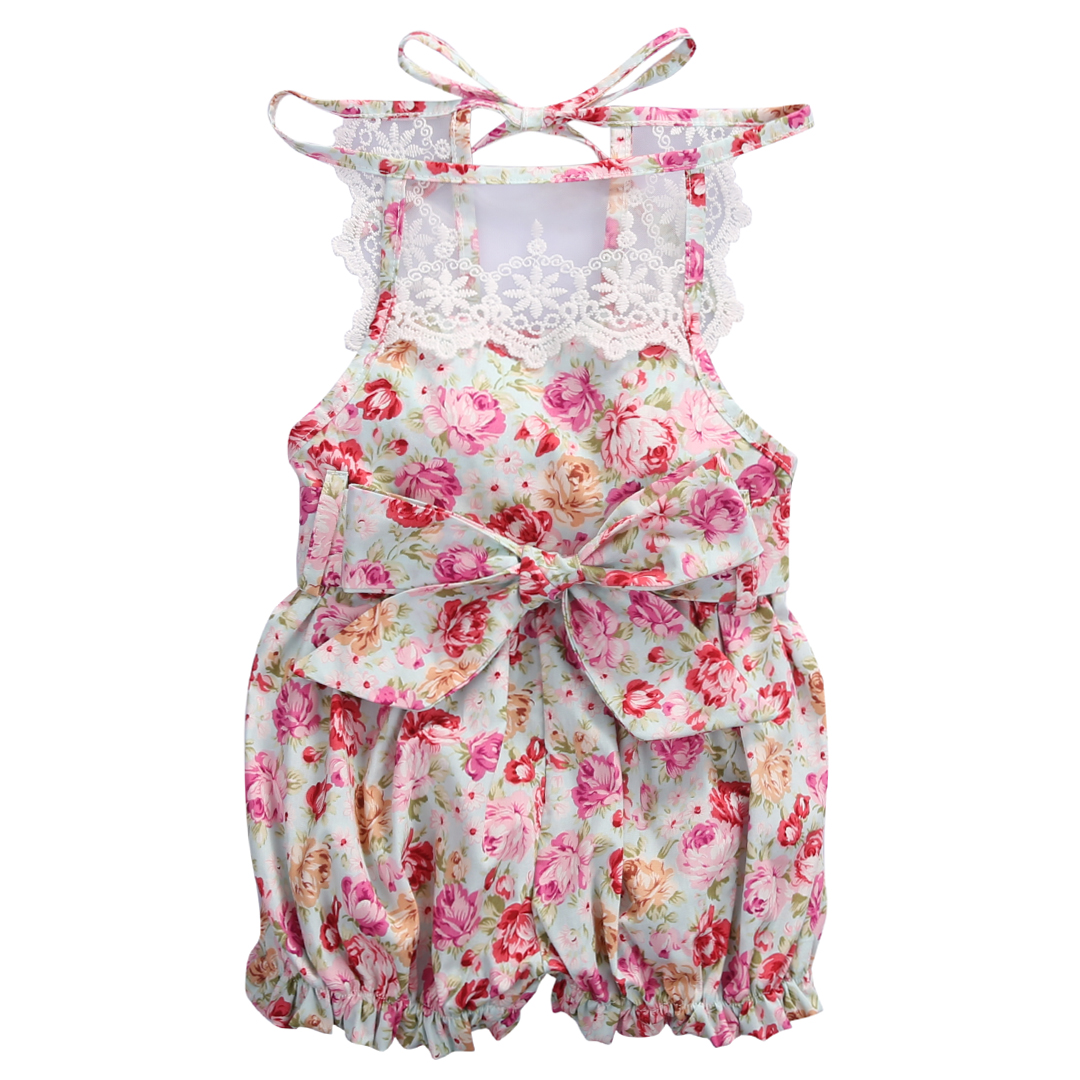 2017 Floral Newborn Baby Romper Infant Bebes Girls Lace Sunsuit Summer Sleeveless Toddler Kids Jumpsuit Outfits Pink newborn baby backless floral jumpsuit infant girls romper sleeveless outfit