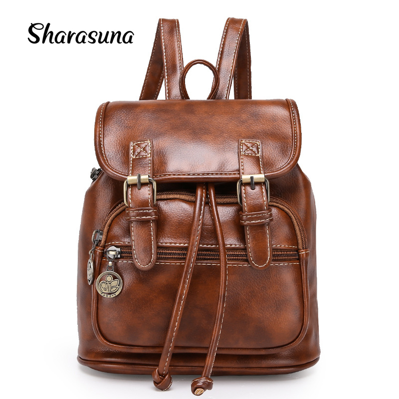 Vintage Women Backpack for Teenage Girls School Bags Fashion Large Backpacks High Quality PU Leather Black Bag Brown Pack hjphoebag fashion women black backpacks luxury large capacity students backpack high quality pu school bags travel bag w 497
