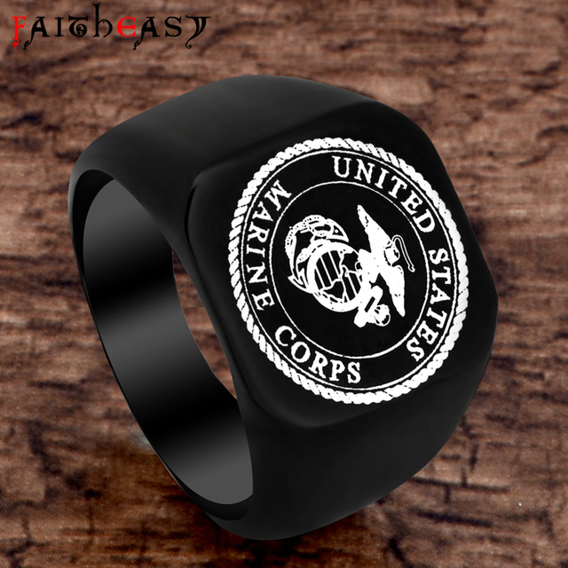 FAITHEASY Fashion USMC Stainless Steel Ring Men US Army Marine Corps Titanium Pu