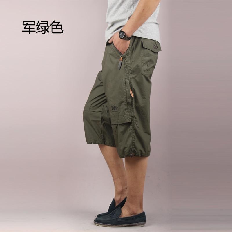 Summer Mens Baggy Multi Pocket Military Zipper Cargo Short  Breeches Male Long Army Green Khaki Men Tactical Cargo Shorts 7XL