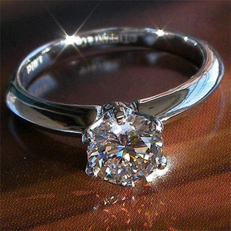 Классические роскошные настоящие серебро 925 пробы кольцо ювелирные изделия 2Ct круглой огранки SONA Diamant Свадебные Кольца для женщин SZ 4 9