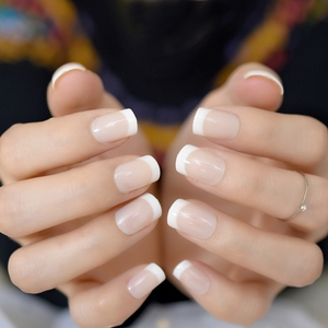 Image 4 - Nude Natural White French Fake Nails Tips Acrylic UV False Nails Press on DIY Manicure Salon Stickers Artificial Nail Tip