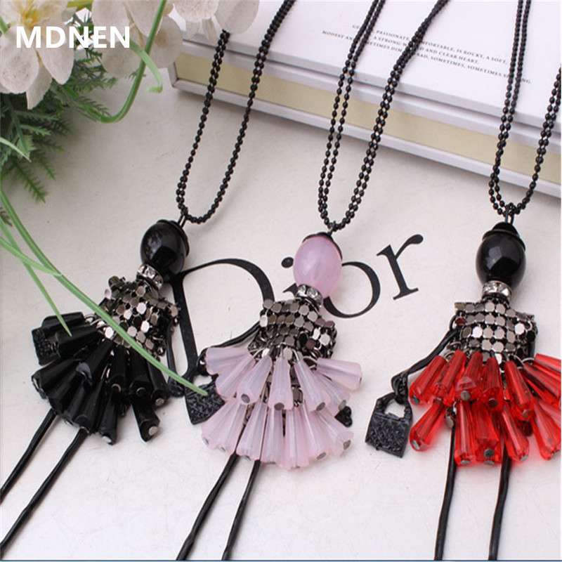 MDNEN 2018 Fashion Doll Pendant Necklace Lovely Dress Quartz Plate Necklace For Women Collier Long Sweater Necklace