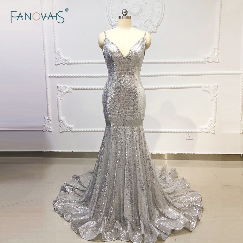 Robes de soirée en argent longues bretelles Spaghetti sirène robe de bal 2019 cristal Sequin robe de soirée robe de Fiesta NE41