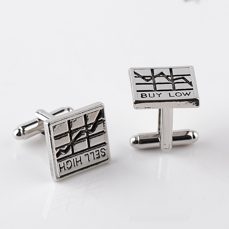 Statement Stock Market Cuff Links Sell High Stock Charts Buy Low Cufflinks French Shirt Accessoires Cuff Button Basic Cuflinks