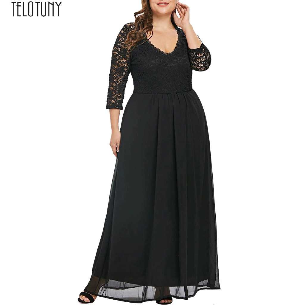 TELOTUNY Ladies Dress Women Plus Size Sweetheart Neck Lace Panel Long Party Maxi Dress Women Party Dress Fashion Hot New Jan22