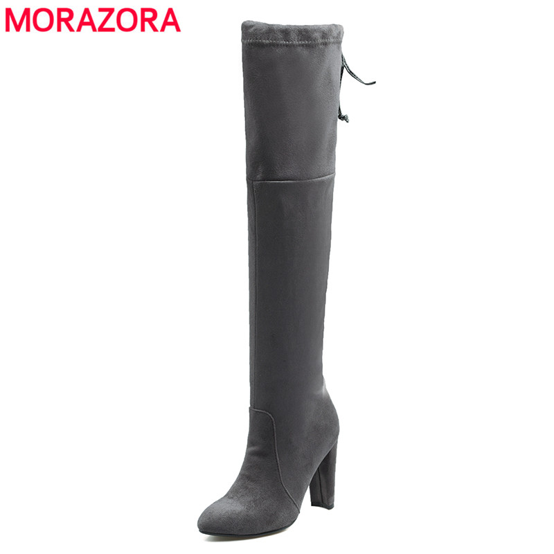 MORAZORA Plus Size 43 Stretch Suede Women Boots Slim Thigh High Boots Sexy Winter Over The Knee Boots High Heels botas