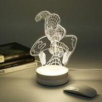 2016 Nuevo 3D Luz De noche caliente historieta del Hombre Araña dormitorio Novedad en iluminación mesa escritorio lámpara led luces para el regalo de cumpleaños del niño