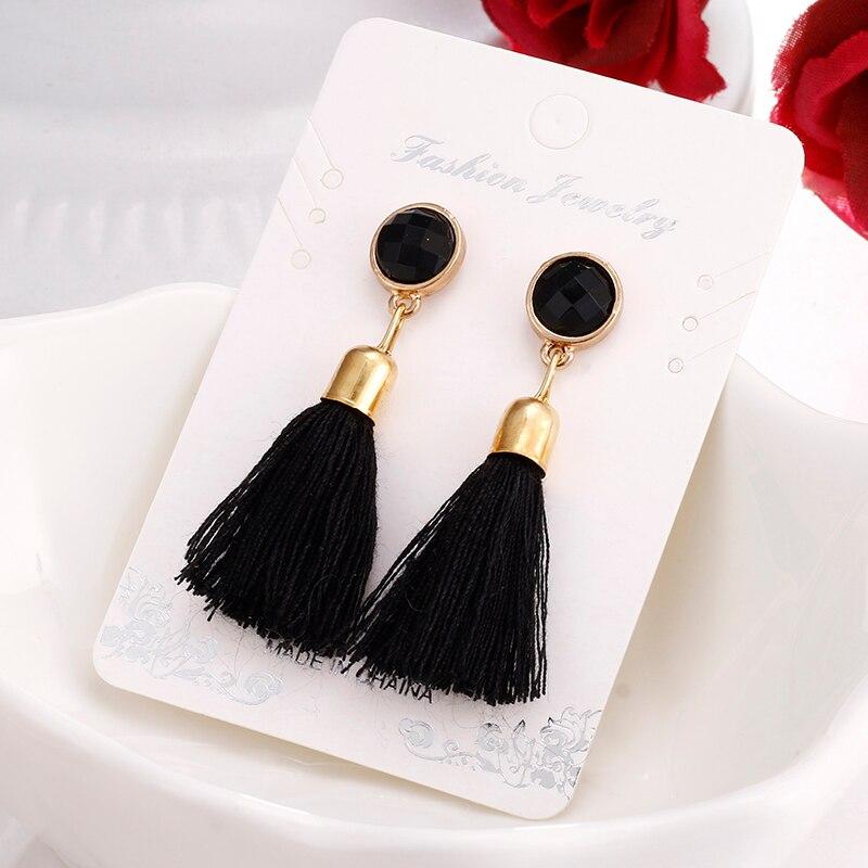 2017 new hot tassel earrings black retro tassel long earrings large earrings E083