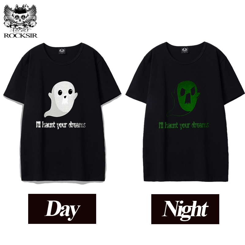 Rocksir funny Cute ghosts I'll haunt your dreams printed T shirts men creative men's T-shirt Summer Fluorescence men's T-shirts