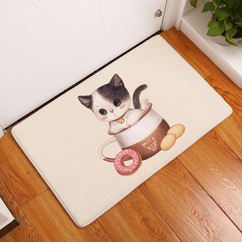 2017 New Tea Cup Cat Print Carpets Non-slip Kitchen Rugs for Home Living Room Floor Mats 40x60cm 50x80cm