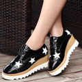 DreamShining Fashion Style Platform Shoes High Platform Single Shoes Height Increasing Lace Up Stars Shoes Women's Shoes