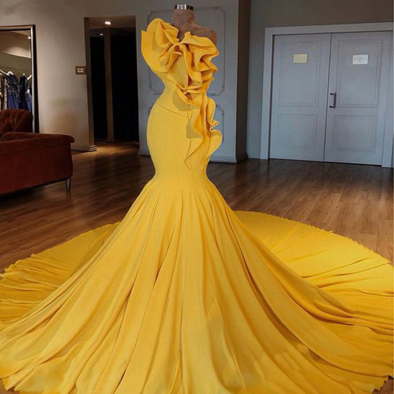 Yellow Muslim   Evening     Dresses   2019 Mermaid Chapel Train Ruffles Plus Size Islamic Dubai Saudi Arabic Long Formal   Evening   Gown