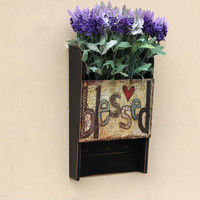 Wooden Multifunction Letter Box Wall Hanger Garden Decoration Flower Plant Holder Rack Door Keys Hook Post