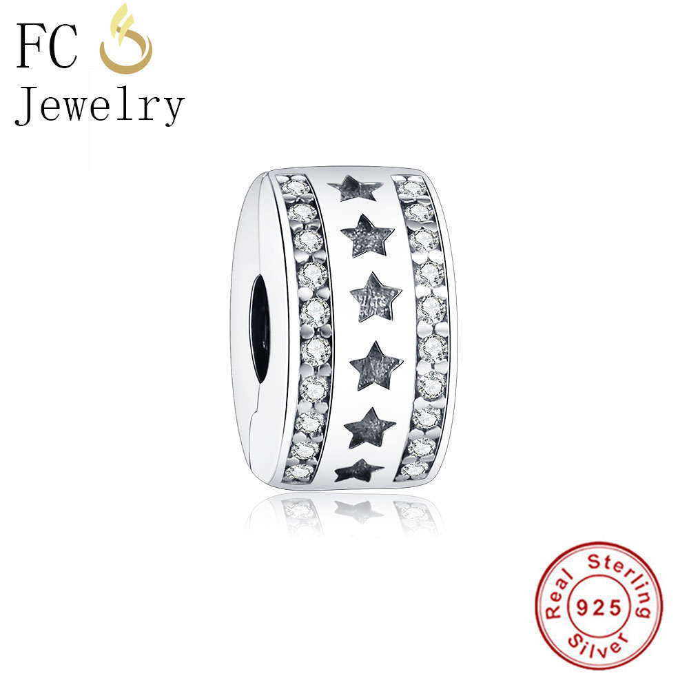 FC Jewelry 925 Sterling Silver European Stopper Charm Star Lock Clip Fits Original Pandora Charm Bracelet diy Berloque Gift