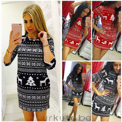 Women's Winter Knitted Christmas Dress Ladies Costume Jumper Sweater Dress 2