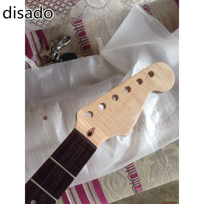 disado 22 Frets Tiger flame maple wood Color Electric Guitar Neck rosewood fingerboard Guitar Parts accessories black color 24 frets holt on one electric guitar neck mahogany wood and rosewood fingerboard 171