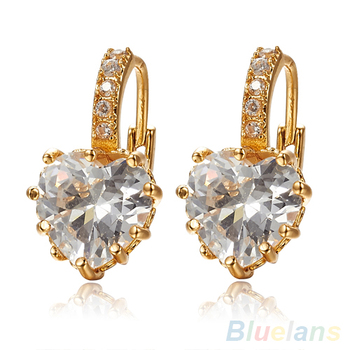 Bluelans Women's Clear Heart Rhinestone Crystal Everlasting Earrings image