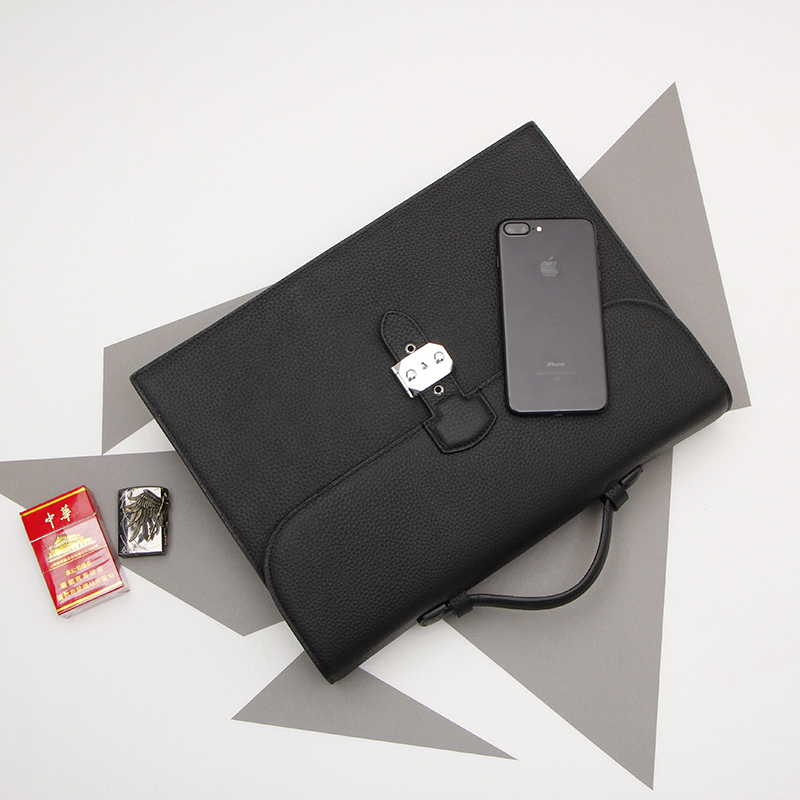 Simple Men's Genuine Leather Business Bag Cowhide Laptop Handbag Large Capacity Briefcase.