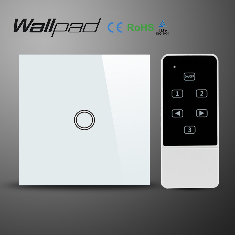 EU 1 Gang Wallpad Wireless Remote control wall touch light switch,Crystal Glass White Waterproof Wifi Light Switch,Free Shipping remote wireless touch switch 1 gang 1 way crystal glass switch touch screen wall switch for smart home light free shipping