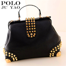POLO JUYAO Frauen handtasche Vintage Mode Strass Nieten Handtasche Pu-leder Taschen Umhängetasche Damen Taschen